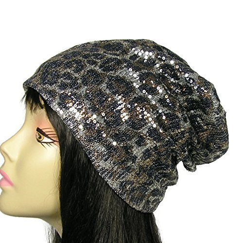 Leopard Print Sequin Beanie Leopard Slouch Hat Glam Sequined Slouchy Beanie Chemo Caps Hats for Hair Loss Alopecia Hats Lined Slouchy Beanies