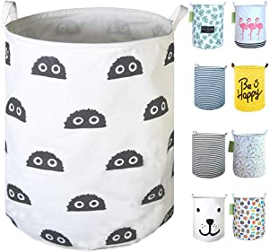 "SEAFOWL 19.7"" Collapsible Laundry Basket,Round Canvas Waterproof Large Storage Basket Cute Cartoon Nursery Basket (Big Eye Monster)"