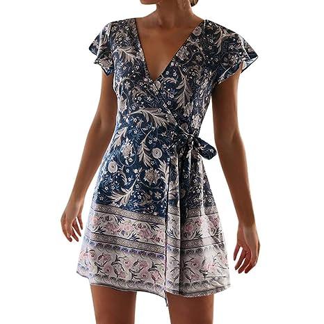IZZB Mode Damen Sommer Partykleid Boho Lässig Hohe Taille Böhmen Print V-Ausschnitt National Style Midi Freizeitkleid Abendkl