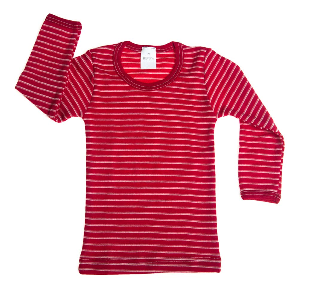 Hocosa of Switzerland Little Boys Organic Wool Long-Sleeved Undershirt, Red/White Stripe, s. 92/2 Yr by Hocosa of Switzerland