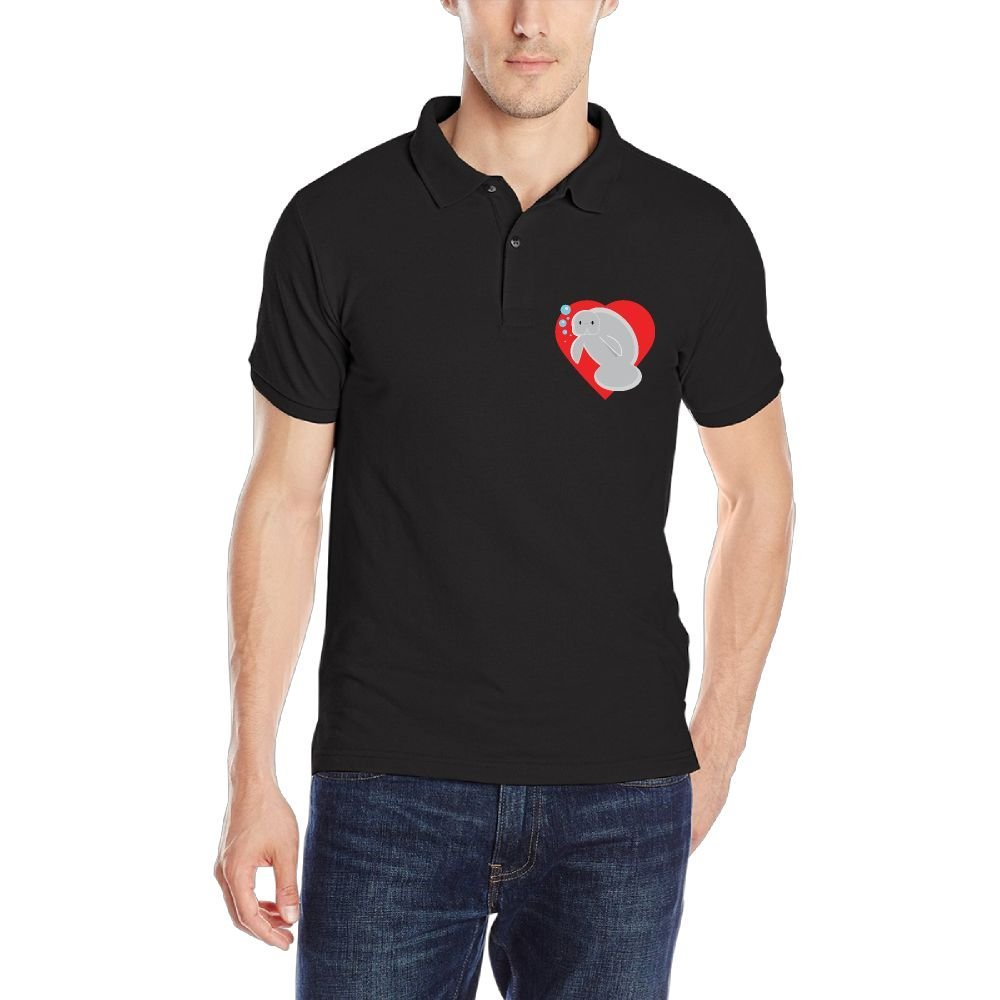 Manatee Heart Mens Short Sleeves Polo Sport Shirt