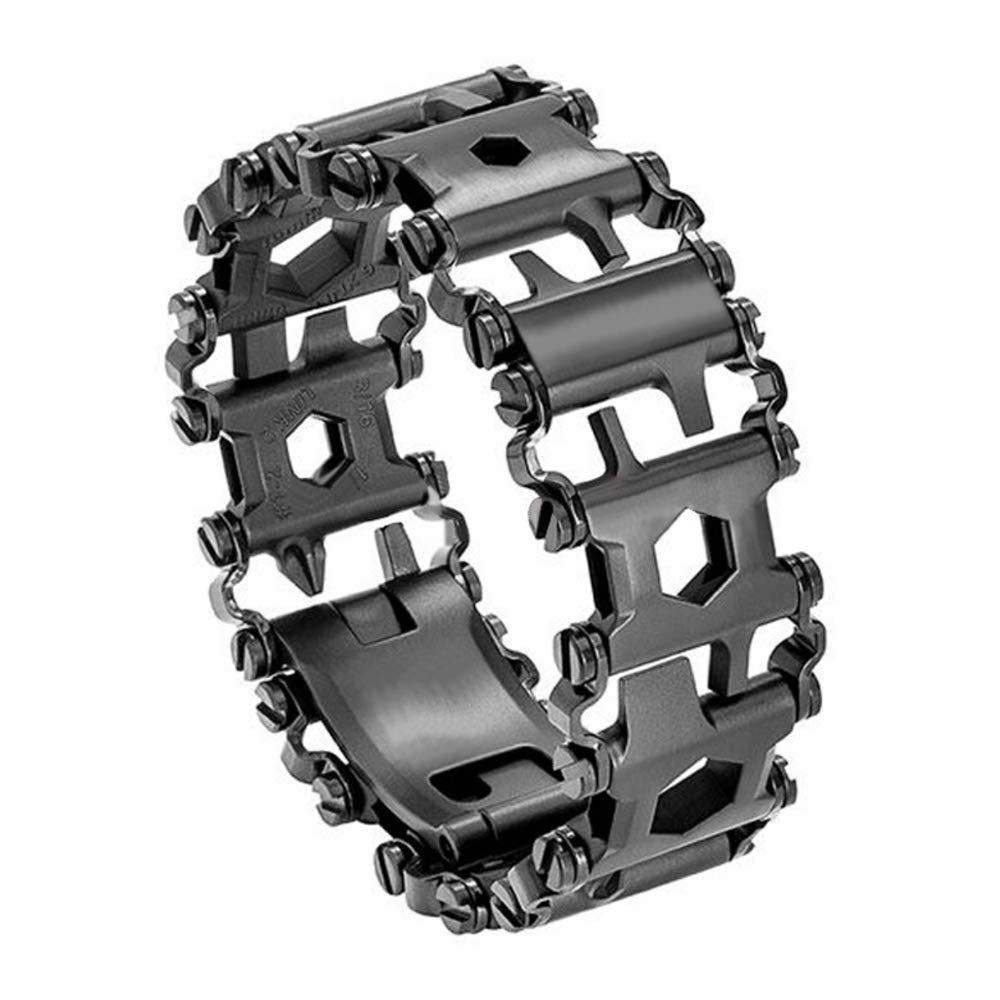 Diamond Survival Multitools Bracelet Black, Travel Friendly Wearable Multitool