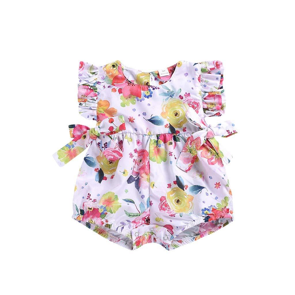 NUWFOR Toddler Baby Boys Girls Sleeveless Bow-Knot Flower Print Romper Jumpsuit (White,12-18Months)