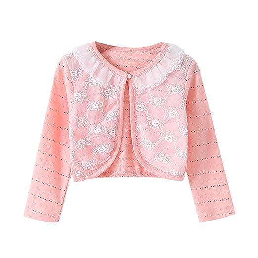 e87fbd2079c LOSORN ZPY Little Girls Long Sleeve Lace Bolero Jacket Cardigan Flower Shrug  Dress Cover Up Pink