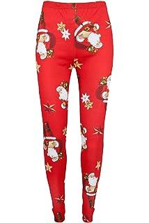 Womens Christmas Xmas Santa Snowman Reindeer Rudolph Stretchy Jeggings Leggings
