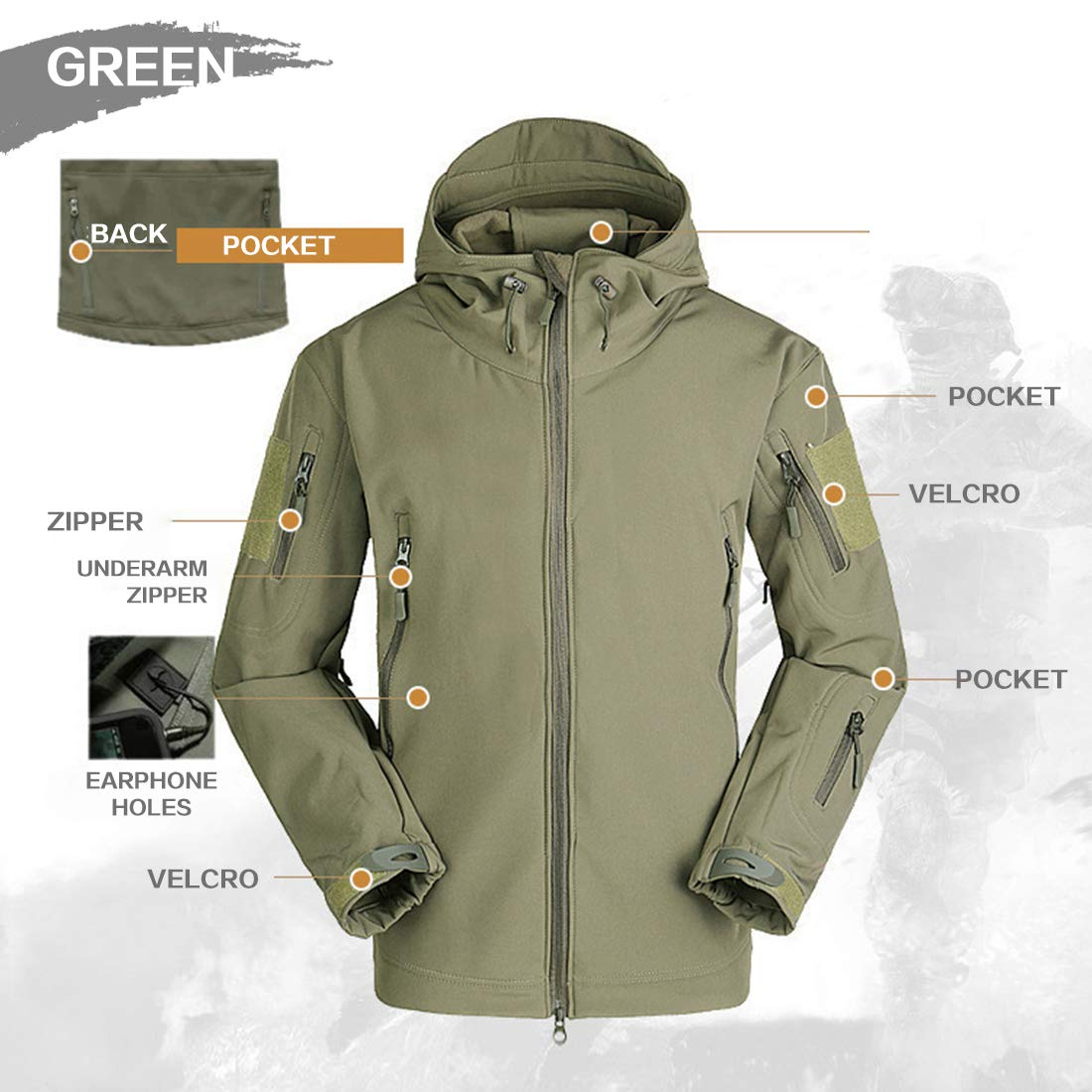 FREE SOLDIER M/änner Wasser Abwehrmittel Kapuzenjacke Winddicht Wandern Ski Mountain Softshell Jacke
