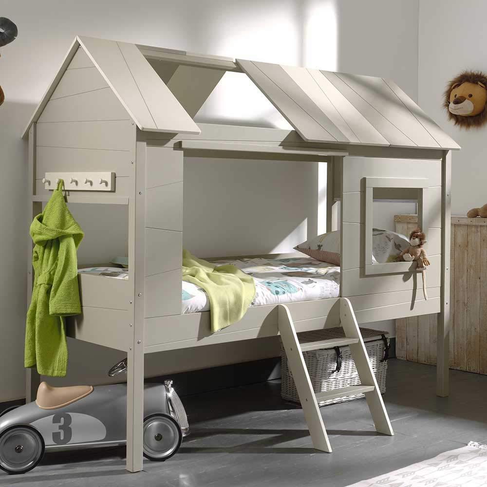 Pharao24 Baumhaus Kinderbett in Grau Leiter