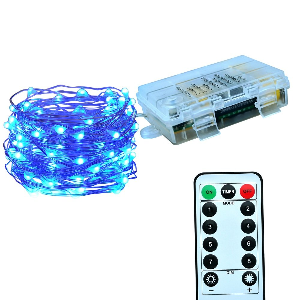 Le Zoey Battery Fairy Lights 33Fft 100leds 8 Modes Waterproof Battery Powered Led Starry String Lights With Remote Control Indoor and Outdoor Xmas Party Home Decoration (Blue)