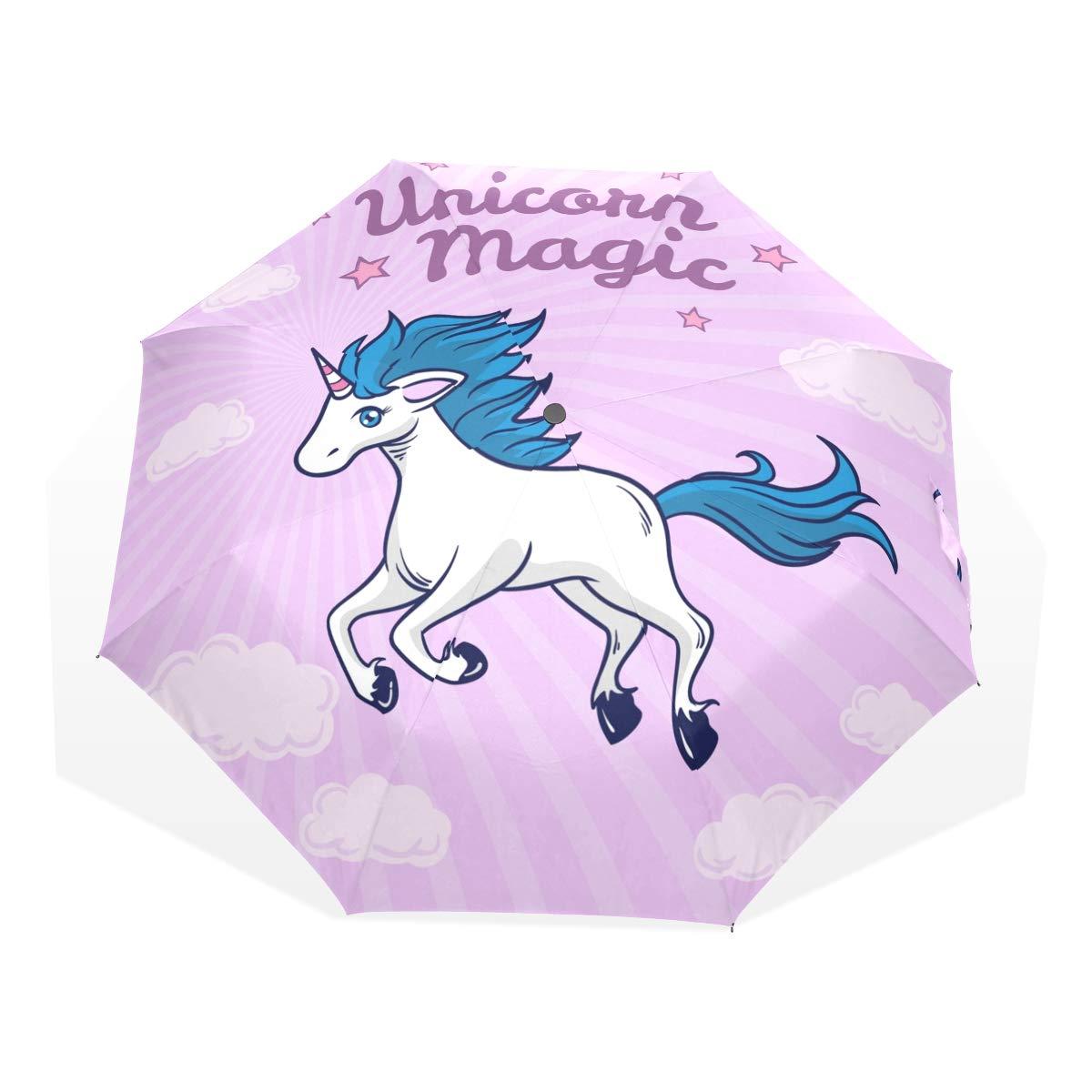 868156aabfdd Amazon.com: CiCily Compact Travel Folding Umbrella Blue Hair Unicorn ...