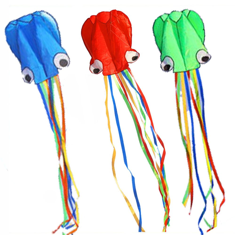 BeMax Pack 3 colors Beautiful Kites Soft Octopus Large Size Kite easy flyer - Blue Green Red with Long RainBow Tails
