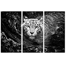 Sea Charm - Black and White Tiger Canvas Print,3 Panels Animal Wall Art with Wood Frame Ready to Hang,Forest Swimming Tiger Picture for Modern Home Decor (Black and White)