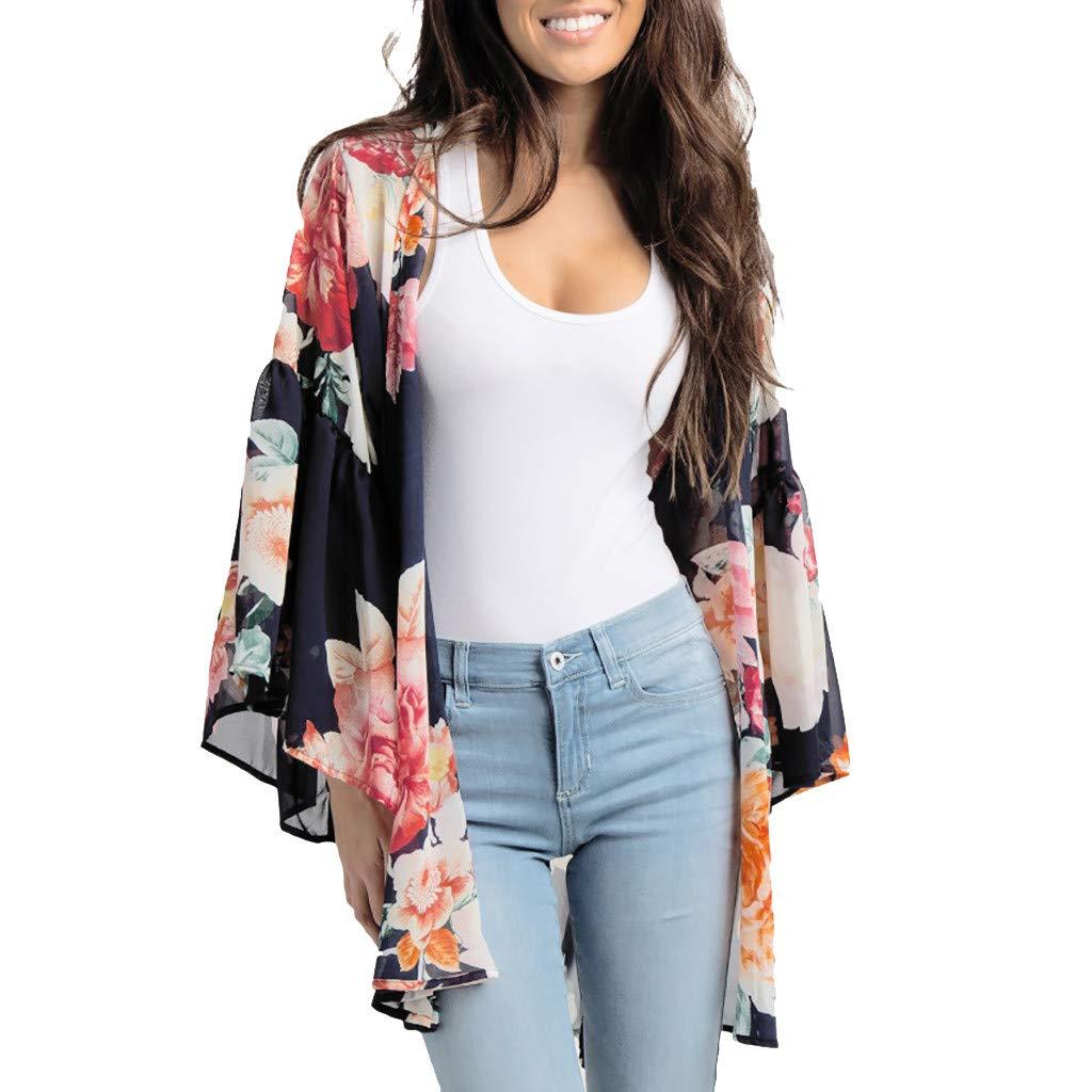NUWFOR Fashion Womens Chiffon Shawl Print Kimono Cardigan Top Cover Up Blouse Beachwear(Black,XXXL US Bust:55.9'')
