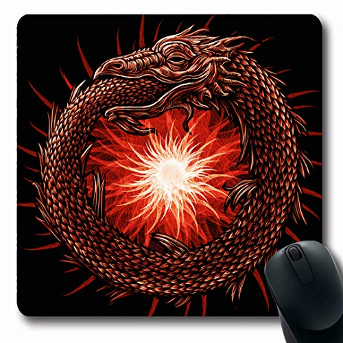 Ahawoso Mousepads Legend Ages Snake Uroboros Red Sun Mythological Abstract Alchemy Black Book Cells Design Knowledge Oblong Shape 7.9 x 9.5 Inches Non-Slip Gaming Mouse Pad Rubber Oblong Mat