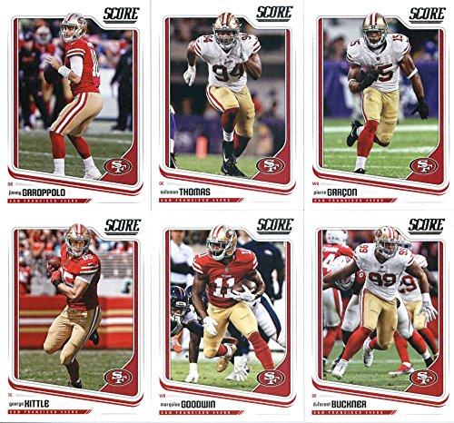 2018 Score San Francisco 49ers Veteran Team Set of 10 Cards: C.J. Beathard(#280), Reuben Foster(#281), Carlos Hyde(#282), Eric Reid(#283), George Kittle(#284), Marquise Goodwin(#285), DeForest Buckner(#286), Jimmy Garoppolo(#287), Solomon Thomas(#288), Pierre Garcon(#289)
