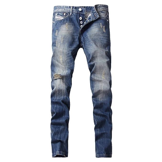 YiLianDa Hombres Pantalones Vaqueros Denim Jeans Moto ...