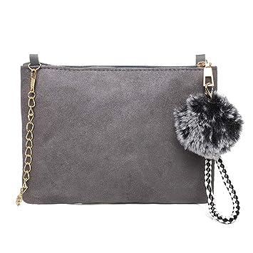 Amazon.com  EnjoCho Women Hairball Solid Color Suede Crossbody Bag ... 951ef806305a4