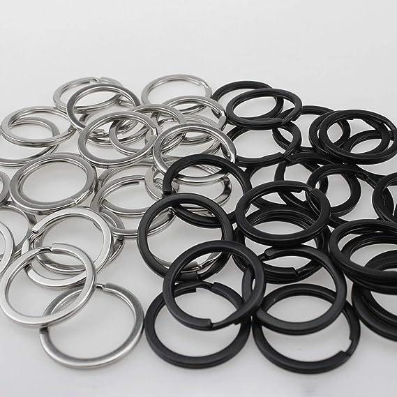 Hysagtek 50 pezzi 25 mm Chiusura portachiavi in metallo rotondo portachiavi piatto split anelli per home auto chiavi nero e argento
