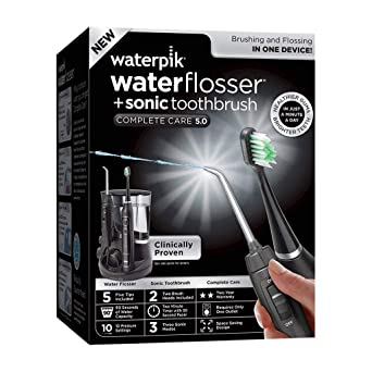 Waterpik Complete Care 5.0 - Cepillo de dientes y posavasos, color negro