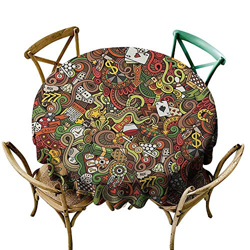 Sunnyhome Indoor/Outdoor Round Tablecloth Casino Doodles Style Artwork of Bingo and Cards Excitement Checkers King Tambourine Vegas Multicolor High-end Durable Creative Home 47 INCH