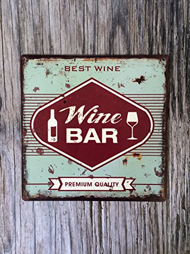 (Personalized Vintage style tin metal sign, gift for her housewarming, shabby chic rustic nostalgic wall art, wine bar kitchen decor, teal & red Metal Sign Tin 30 x)