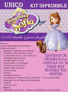 Amazon.com: SOFIA PRINCESS PRINTABLE PARTY KIT (4) by Disney ...