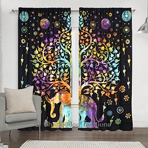 Indian Tie Dye Tree Of Life Tapestry, Mandala Window Curtain Valances Room Divider 2 Pc Panel Set 84 x 80