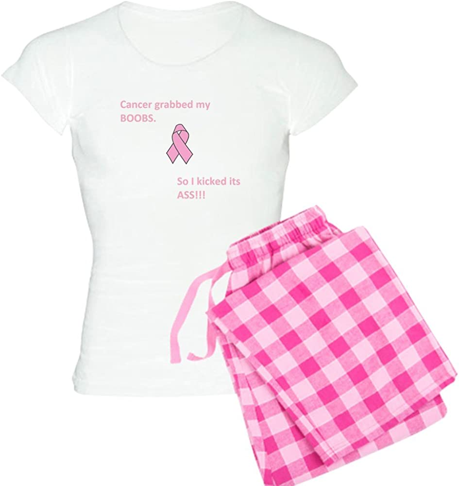 CafePress Cancer Grabbed My Boobs So I Kicked Women's PJs 61MKmlhSLOL
