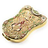 Antique-Like Compact Mirror By Jinvun: Durable Travel Purse Makeup Mirror With Luxury Vintage Design, Shield Shape, Magnification & Clear Reflection-Unique Jewellery Gift