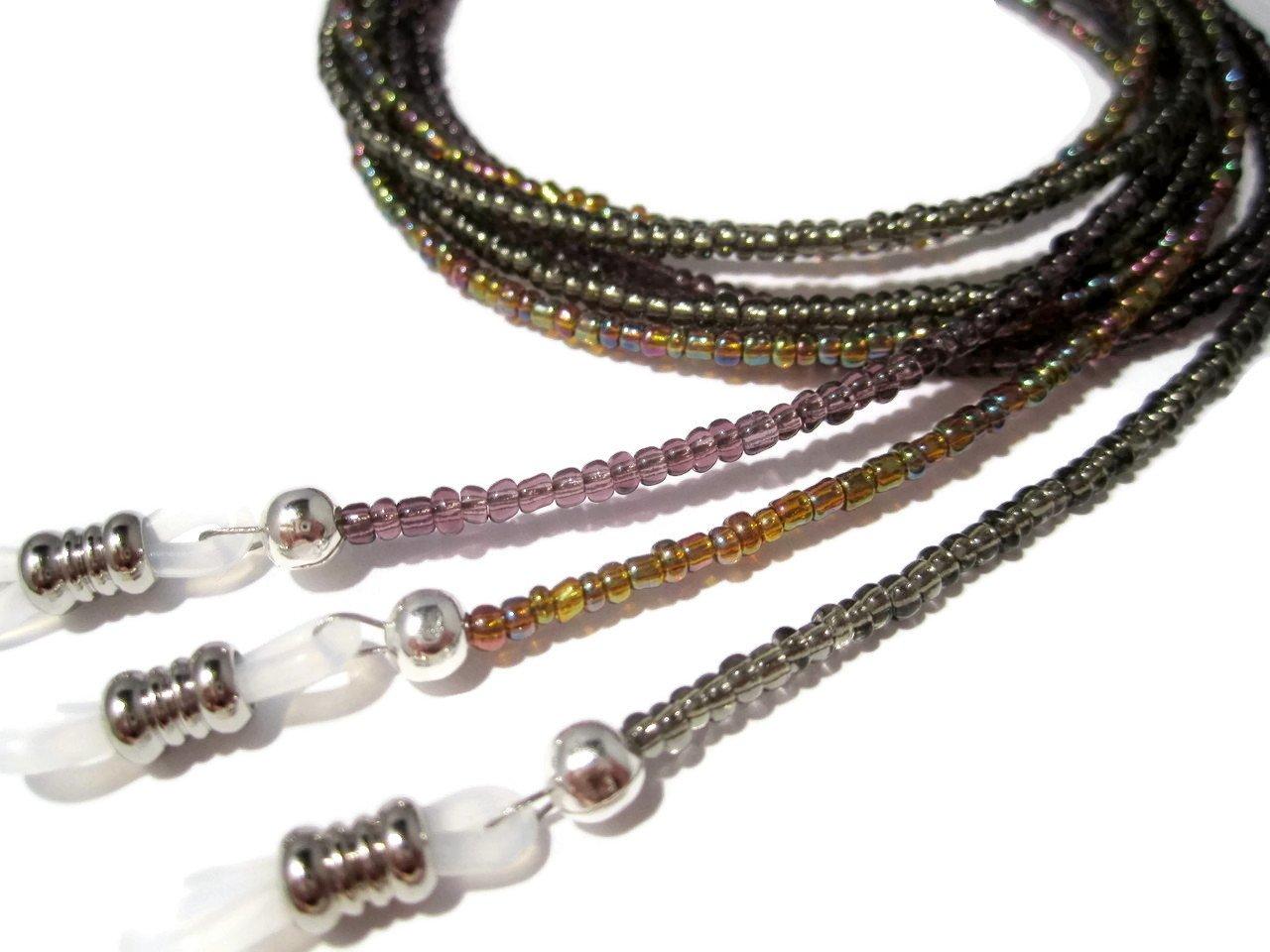 ATLanyards SET of THREE Beaded Eyeglass Holders - Plum Purple, Rainbow Brown, Gray
