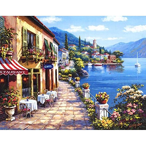 Shukqueen Diy Oil Painting, Adult's Paint by Number Kits, Acrylic Painting-Quiet Resort Town 16X20 Inch (Framed - Shops Town At Harbour