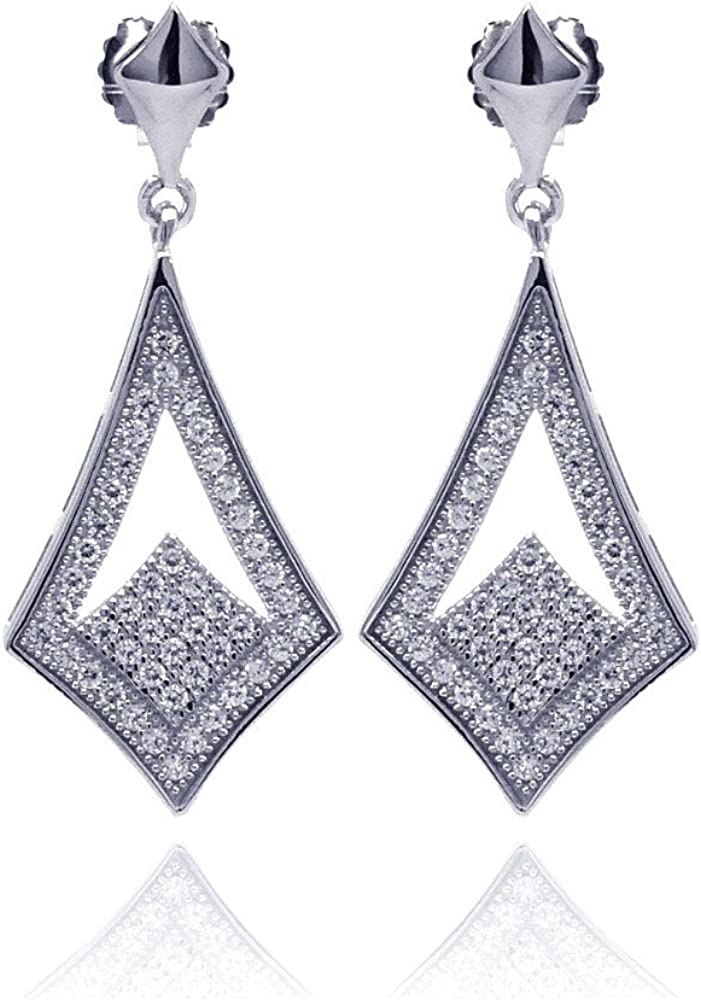 Pave Set Cubic Zirconia Open Marquise Designer Earrings Rhodium Plated Sterling Silver