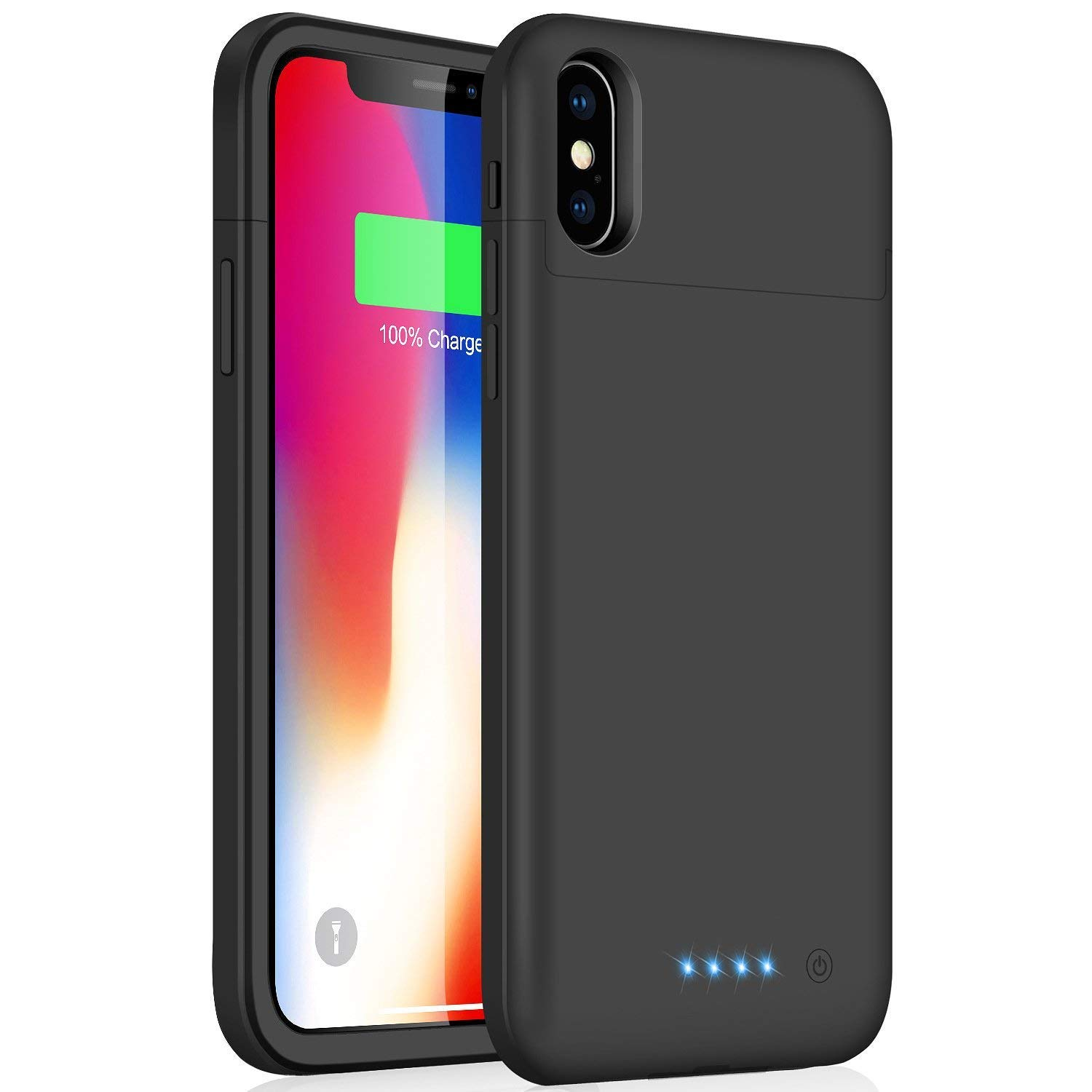 iPhone X 10 Battery Case, Feob 5200mAh Rechargeable Portable Power Charging Case for iPhone X (5.8 inch) Extended Battery Pack Protective Charger Case Ultra Thin (Black)
