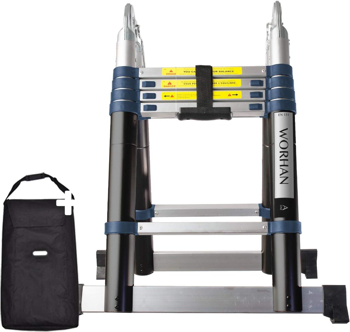 WORHAN® 3.2m Escalera Doble Telescopica PRO Multiuso Multifuncional Plegable Tijera Aluminio Anodizado Nueva Generación Calidad Alta 320cm K3.2B: Amazon.es: Bricolaje y herramientas