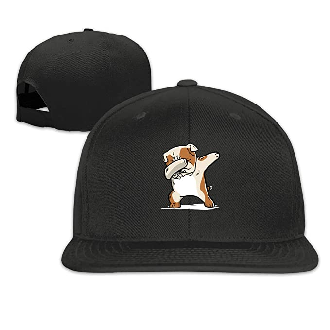 outlet store 5d4e4 52b1c Image Unavailable. Image not available for. Color  Arsmt Funny English  Bulldog Dabbing Flat Bill Baseball Cap Snapback Hat Mens Black