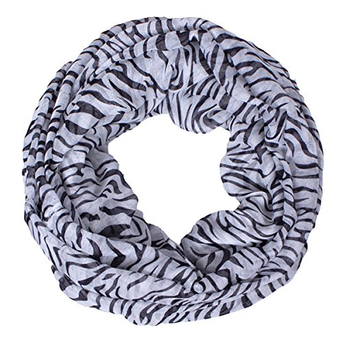 Casual Ladies Voile Infinity Tube Circle Scarf Zebra Stripes Snood Wrap Loop Cowl (Print Boots Zebra)