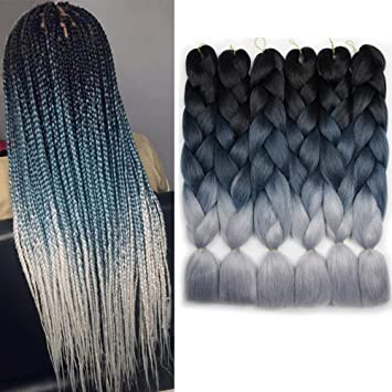 Amazon Com 6 Packs Ombre Braiding Synthetic Hair Kanekalon Fiber Jumbo Braids Hair Extensions Black To Green To Gray Beauty
