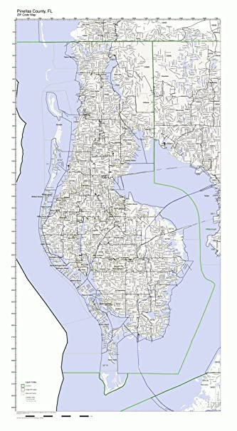 Map Of Pinellas County Florida.Amazon Com Pinellas County Florida Fl Zip Code Map Not Laminated