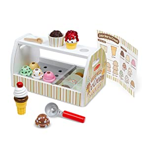 "Melissa & Doug Wooden Scoop & Serve Ice Cream Counter, Play Food and Accessories, 28 Pieces, Realistic Scooper, 13.6"" H x 8.6"" W x 7.7"" L"