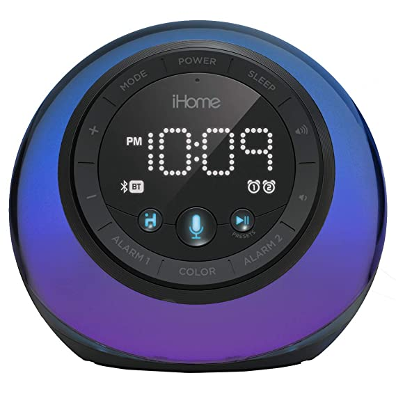 iHome iBT297 App-Enhanced Bluetooth Color Changing Dual Alarm Clock Radio with USB Charging, Voice Control and Customizable Smart Button