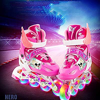 CLEBAO Children Adult Inline Roller Skates Full Set of Flash Adjustable Male and Female Roller Blade Single Row Skates PVC : Sports & Outdoors