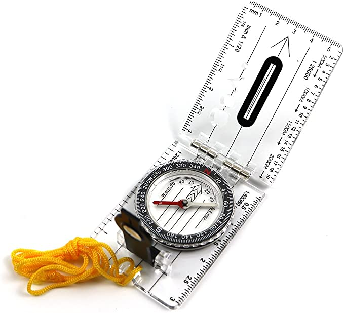 Acrylic Refined Portable Hiking Compass with Adjustable Declination WUQIAN Orienteering Compass Comparing Navigation CompassRule
