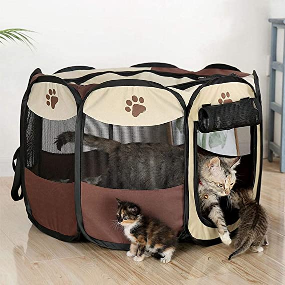 KOBWA - Tienda de campaña Plegable portátil para Mascotas, Perros y Gatos con Cubierta de Malla extraíble para Interior y Exterior, Tela Oxford 600D: ...
