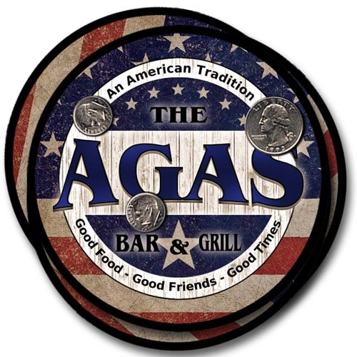 Agas Family Bar and Grill Rubber Drink Coaster Set - Patriotic Design