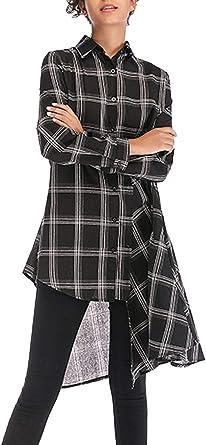 Mujer Camisas Primavera Otoño Largo Blusas Festivo Camisas Cuadros Chic Manga Larga Casuales Mujeres Un Solo Pecho Asimetricas Vestidos Vestidos De Camisa: Amazon.es: Ropa y accesorios