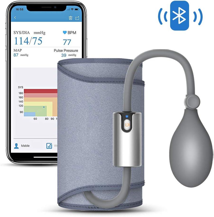 Bluetooth Tensiómetro de Brazo, Detección del Pulso Arrítmico, Monitor de Tensión Arterial con APP y Manguito Inteligente 22-42cm