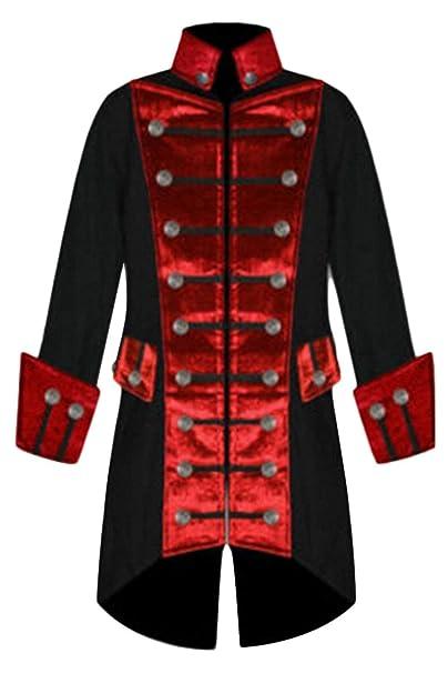 BOLAWOO Chaqueta Gótica Steampunk Hombre Cuello Smoking Cuello Largo Escudo Redondo Uniforme Mode De Marca Abrigo Rojo Outwear: Amazon.es: Ropa y accesorios