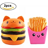 Jumbo Squishy Cat Hamburgers Sweet Cream Cup Bread Chips Fruit Strawberry Peach Banana Scented Slow Rising large Kawaii Squishy Charms, Hand Pillow Toy, Squeeze Toys,Toy hop props,decorative props (Burger+fries)