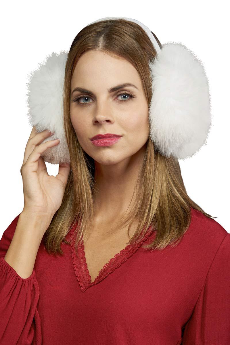 EM-EL Women's White Fox Fur Earmuffs