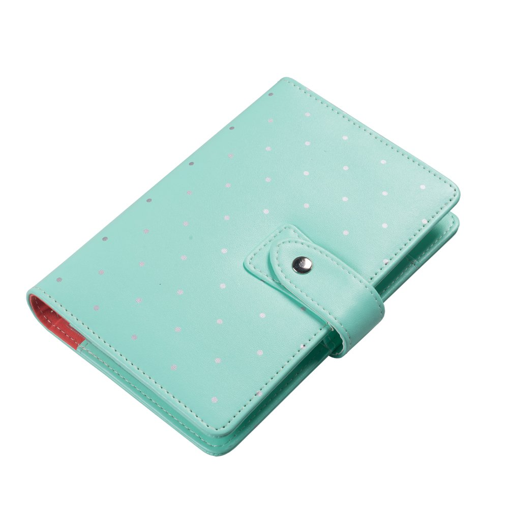 Labon's Binder Closure Refillable Writing Filofax Softcover Dots Button Personal Organizer for A5 Insert Loose Leaf Paper/Planner Calendar/Weekly Monthly Schedule Stainless Steel 6 Rings Green