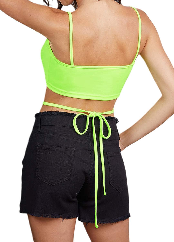 Giovacker Womens Reflective Crop Top Rave Dance Club Tank Vest for Teen Girls